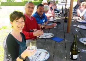 MoaTrek guests enjoying the day with a glass of wine - Tour Review