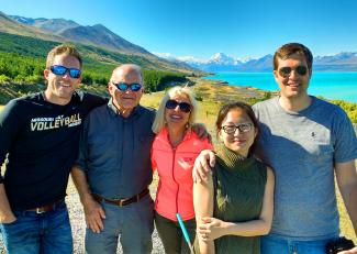 Family photo at Mt Cook and Lake Pukaki - Cory Kessler MoaTrek Tour Review