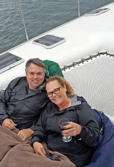 Dan and Debbie relaxing on the Yacht - MoaTrek Kiwi Tour Review Feb 2017