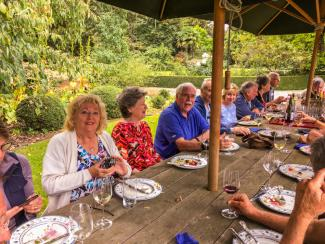 MoaTrek group enjoying hosted lunch at Akaunui Homestead in Canterbury