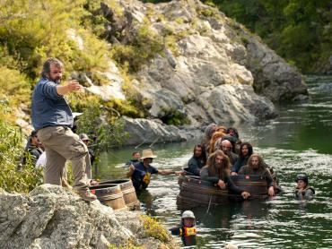 Director Peter Jackson and actors in the Pelorus River, filming the Barrell Run scene in the Hobbit - Lord of the Rings Tours NZ