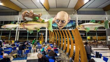 Giant Gollum on the ceiling at Wellington airport - Lord of the Rings Tours