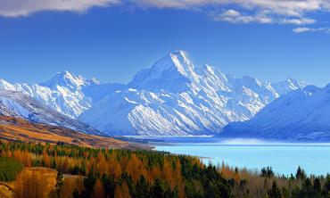 Mt Cook in snow, Lake Pukaki in the foreground - National Park Tours