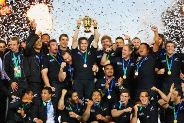 All Black team holding Rugby World Cup in 2011 - New Zealand History