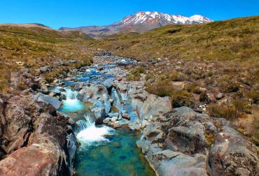 Beautiful clear river and Mt Tongariro - National Park Tours