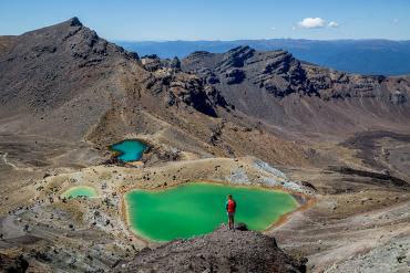 Walker at the Blue Lakes - Tongariro National Park Tours