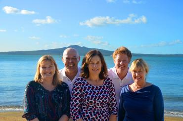 The MoaTrek HQ team on the beach in Auckland - Caroline, Steve, Tanya, Miles and Ena.