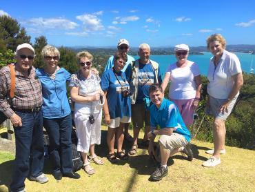 Walking group enjoying the views from Flagstaff Hill in the Bay of Islands
