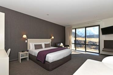 Mountain views from inside your room at Aoraki Court in Mt Cook Village
