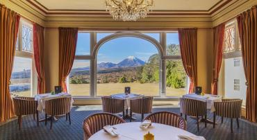 Views of Mt Ngauruhoe from the Ruapehu lounge at the Chateau Tongariro Hotel