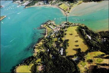 Aerial photo of the Waitangi Copthorne and bridge