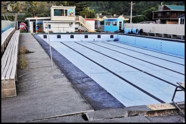 Damaged swimming pool in Kaikoura