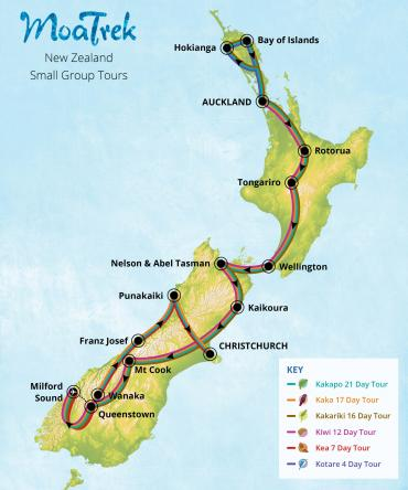New Zealand map showing the routes of all 6 MoaTrek itineraries