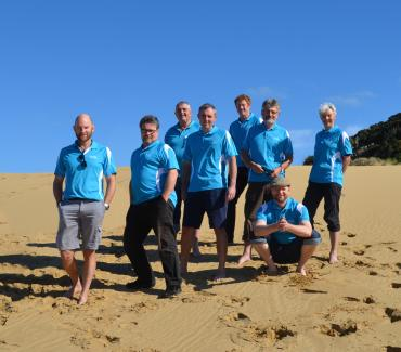 The MoaTrek guide team on the sand dunes at the Hokianga harbour